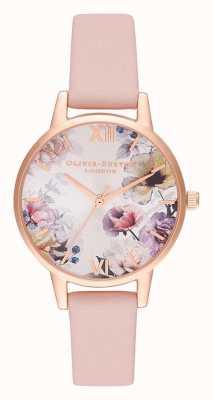 Olivia Burton | les femmes | fleurs au soleil | bracelet en cuir rose poussiéreux | OB16EG115