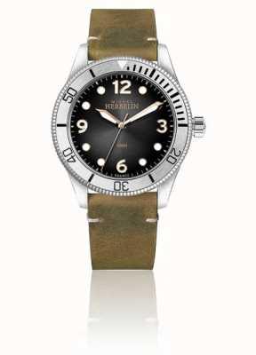 Michel Herbelin | hommes | trophée | cadran noir | bracelet en cuir marron | 12260/T14BR