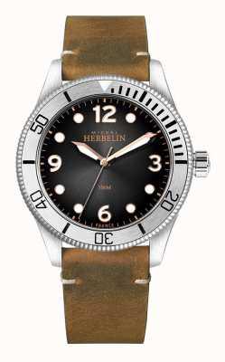 Michel Herbelin   hommes   trophée   cadran noir   bracelet en cuir marron   12260/T14BR
