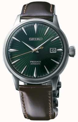 Seiko Presage Bracelet vert en cuir marron 'cocktail time' avec cadran vert SRPD37J1