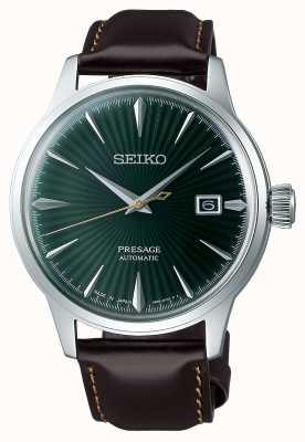 Seiko Presage automatique cadran vert 'cocktail time' bracelet en cuir marron SRPD37J1