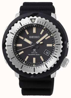 Seiko Cadran solaire Prospex Solar pour homme, bracelet noir, 200 m, bracelet noir, argent SNE541P1
