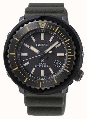 Seiko 200m de plongeur à cadran noir pour homme Prospex solaire | bracelet vert | SNE543P1