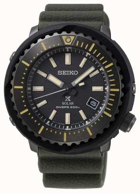 Seiko 200 m de cadran noir pour hommes Prospex solar | sangle verte | SNE543P1