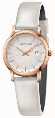 Calvin Klein | femmes établies | bracelet en cuir blanc | cadran argenté | K9H236L6