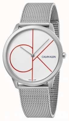 Calvin Klein Minimal | bracelet en maille d'argent | cadran blanc | K3M51152