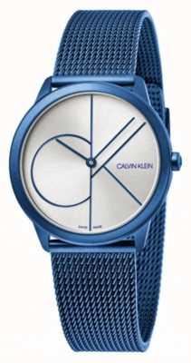 Calvin Klein Minimal | bracelet maille bleu | cadran argenté | K3M52T56