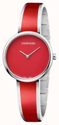 Calvin Klein | les femmes séduisent | bracelet en résine rouge en acier inoxydable | K4E2N11P