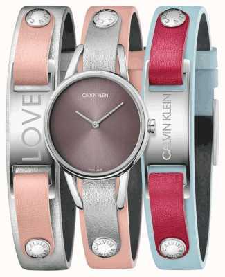 Calvin Klein | mes calvins | bracelet en cuir rose | ensemble montre et bracelet | K9D231ZZ