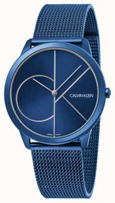 Calvin Klein | les femmes | minimal | sangle maille bleue | cadran bleu | K3M52T5N