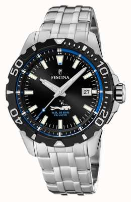 Festina   hommes divers   bracelet en acier inoxydable   cadran noir / bleu   F20461/4