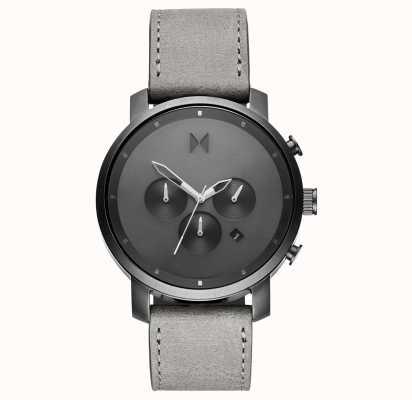 MVMT Chrono 45mm monochrome | bracelet en cuir gris | cadran gris D-MC01-BBLGR