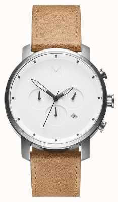 MVMT | chrono caramel blanc | bracelet en cuir marron | cadran blanc | D-MC01WT