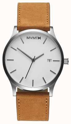 MVMT Bronzage blanc classique | bracelet en cuir marron | cadran blanc D-L213.1L.331