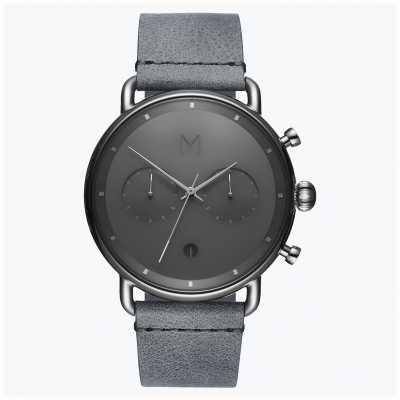 MVMT Brume argentée Blacktop | bracelet en cuir gris | cadran gris D-BT01-SGR