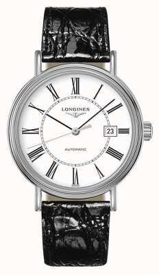 Longines Présence | suisse automatique | cuir noir | cadran blanc L49224112