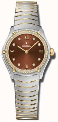EBEL Classique de sport pour femmes | cadran marron | serti de diamants | inoxydable 1216443A