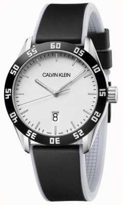 Calvin Klein | hommes | rivaliser | bracelet en caoutchouc noir | cadran argenté | K9R31CD6