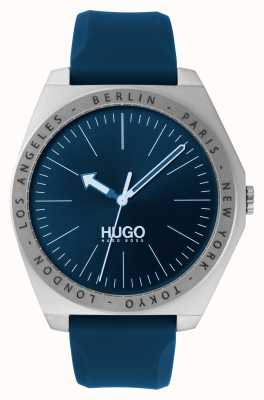 HUGO #act | bracelet en caoutchouc bleu | cadran bleu 1530105