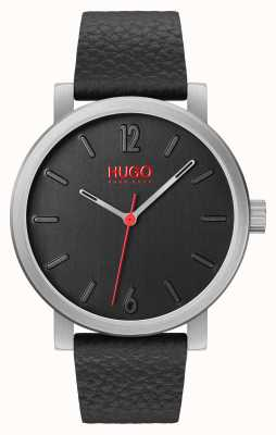 HUGO #rase | bracelet en cuir noir | cadran noir 1530115