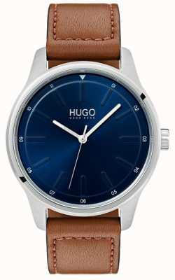 HUGO #dare | bracelet en cuir marron | cadran bleu 1530029