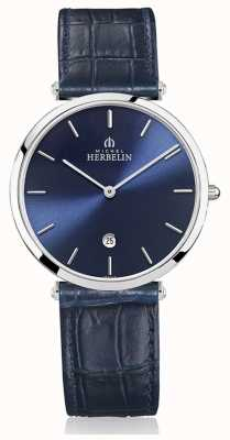 Michel Herbelin | hommes | epsilon | bracelet en cuir bleu | cadran bleu | 19406/15BL