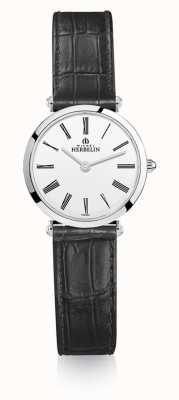 Michel Herbelin | les femmes | epsilon | bracelet en cuir noir | cadran blanc | 17106/01N