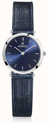 Michel Herbelin   les femmes   epsilon   bracelet en cuir bleu   cadran bleu   17106/15BL