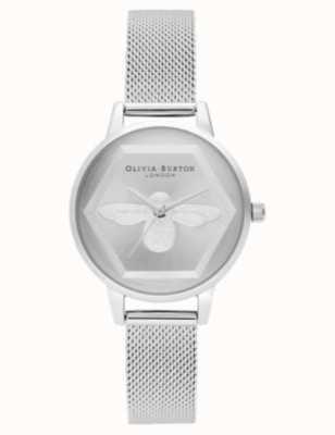 Olivia Burton   Montre 3d charité abeille   bracelet maille d'argent l OB16AM168