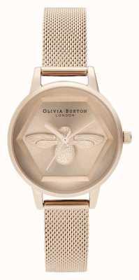 Olivia Burton | Montre 3d charité abeille | bracelet en maille d'or rose | OB16AM170