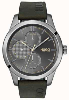 HUGO #découvrir | bracelet en cuir vert | cadran gris 1530084