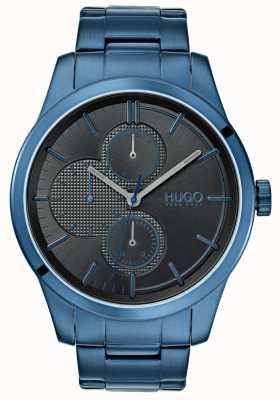 HUGO #découvrir | bracelet ip bleu | cadran noir | 1530086