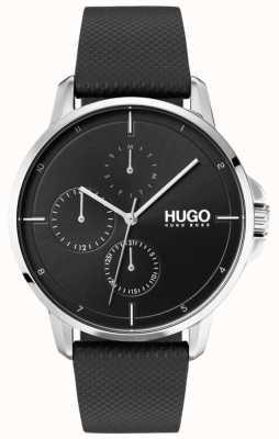 HUGO #focus | bracelet en cuir noir | cadran noir 1530022