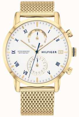 Tommy Hilfiger Kane | bracelet en maille ip or | cadran blanc | 1710403