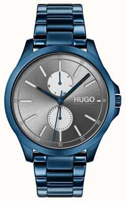 HUGO #jump | bracelet ip bleu | cadran gris 1530006
