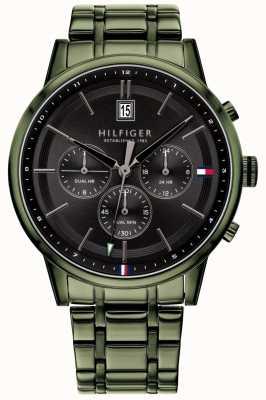 Tommy Hilfiger | bracelet plaqué pvd vert pour hommes | cadran noir | 1791634