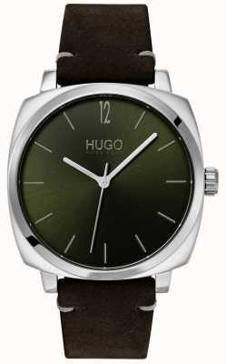 HUGO #own | bracelet en cuir noir | cadran vert 1530068