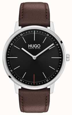 HUGO #exist | bracelet en cuir marron | cadran noir 1520014