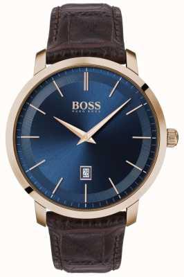 Boss | premium classique pour hommes | bracelet en cuir marron | cadran bleu | 1513745