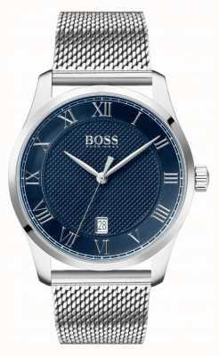 Boss | maître des hommes | bracelet en maille d'acier inoxydable | cadran bleu | 1513737