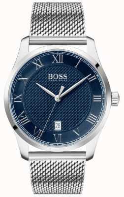 BOSS Master   bracelet en maille en acier inoxydable   cadran bleu   1513737