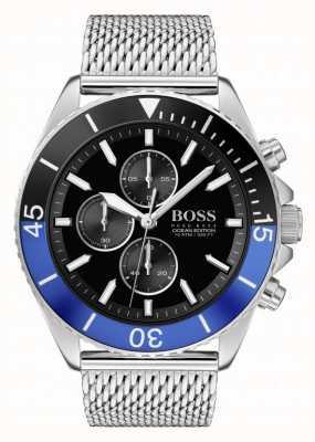 Boss | édition océan hommes | bracelet en maille d'acier | cadran noir | 1513742