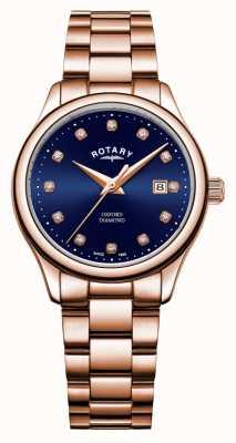 Rotary | oxford des femmes | plaqué or pvd rose | cadran bleu sunray | LB05096/05/D