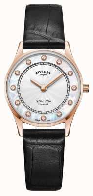 Rotary | cuir noir ultra mince pour femmes | cadran en nacre LS08304/41/D