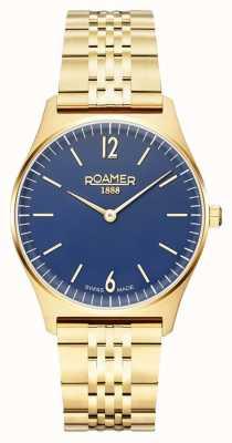 Roamer | éléments féminins | acier inoxydable plaqué or | cadran bleu 650815 48 45 50