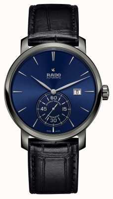 RADO Montre à cadran bleu en cuir noir Diamaster Petite Seconde R14053206