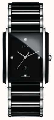 Rado Montre à cadran carré noir en céramique haute technologie avec diamants intégrés R20206712