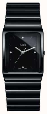 Rado Montre à bracelet en céramique à cadran carré et diamants Ceramica R21700702