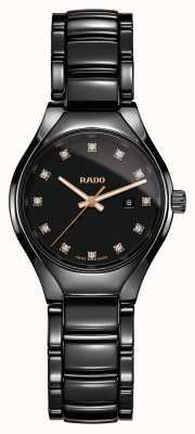 Rado Montre à cadran noir haute technologie avec plasma et diamants en céramique R27059732