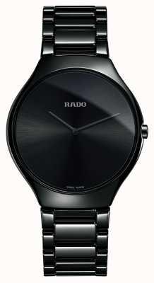 Rado Montre à cadran noir en céramique haute technologie True FineLine R27741182